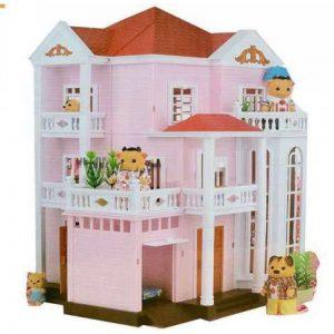 Кукольный домик Happy Family розовый трехэтажный